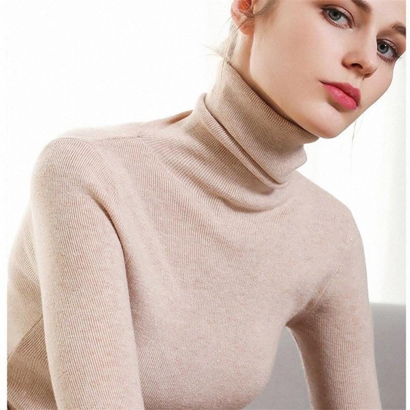 Casual Slim col roulé pull en tricot Pull Femme Automne Hiver Mode Femme Pull solide Jumpers manches longues Sueter Mujer Y200116 lg4d #