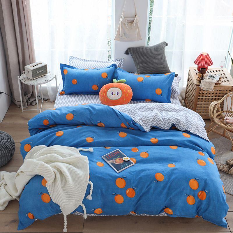 Классический набор постельных принадлежностей 5 размера серой синей сетка лето постельного белье 4шт / комплект пододеяльник набор Пастырского простыню AB сторона пододеяльник