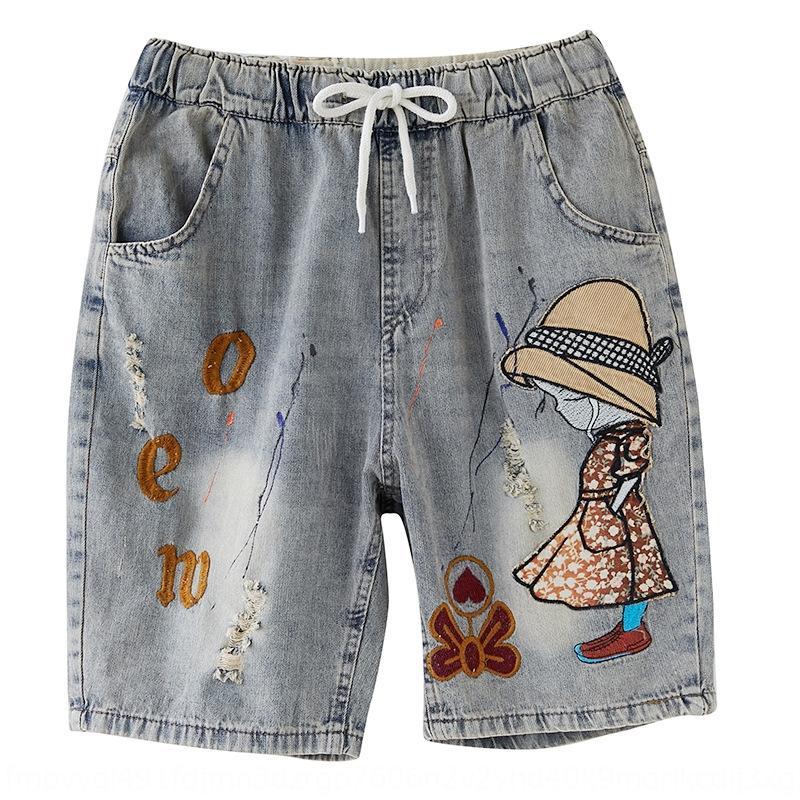 NgIwo 2020 Летнего похудение и джинсы художественная большая свободный размер досуга женской одежда жир ММ новая вышитая пятибалльных джинсы