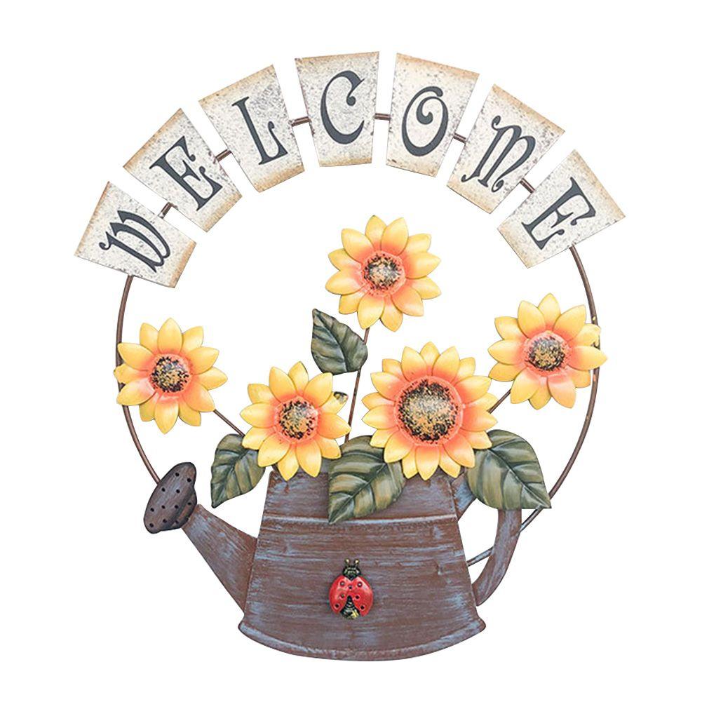 Craft Welcome Sign Eisen Sunflower Wandbehang Pastoral Dekorative Wohnkultur