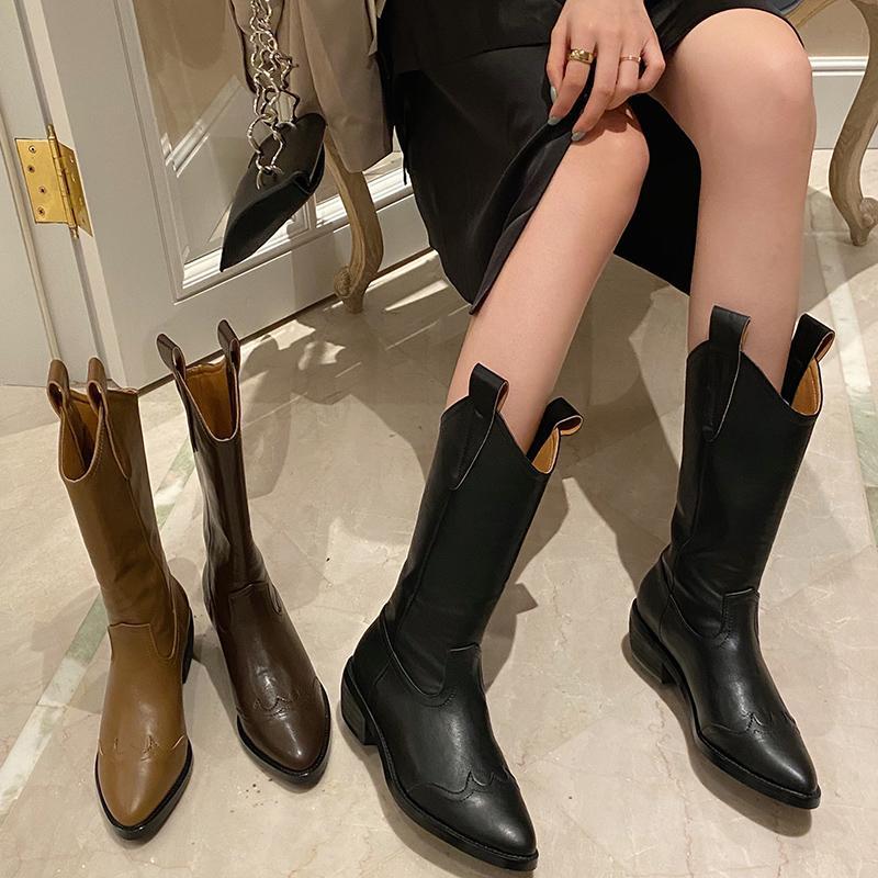 2020 Nuovo INS donne 5 cm di spessore Tacchi alti cunei metà polpaccio Boots Lady equitazione Stivali da cowboy invernali Designer Scarpe a punta occidentale