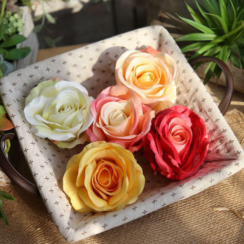 düğün Ev Dekorasyon düğün için Yüksek Kaliteli Yapay ipek Çiçekler Gül Çiçekler Yapay Çiçek Başkanları DIY Dekorasyon Yana