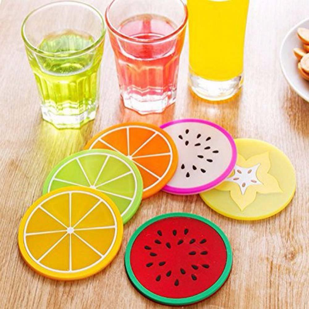 6 Pz silicone pranzo Placemat Colorful fruttiera tazza stuoie caffè Tazza da tè Occhiali per Bar decorazione del partito accessori
