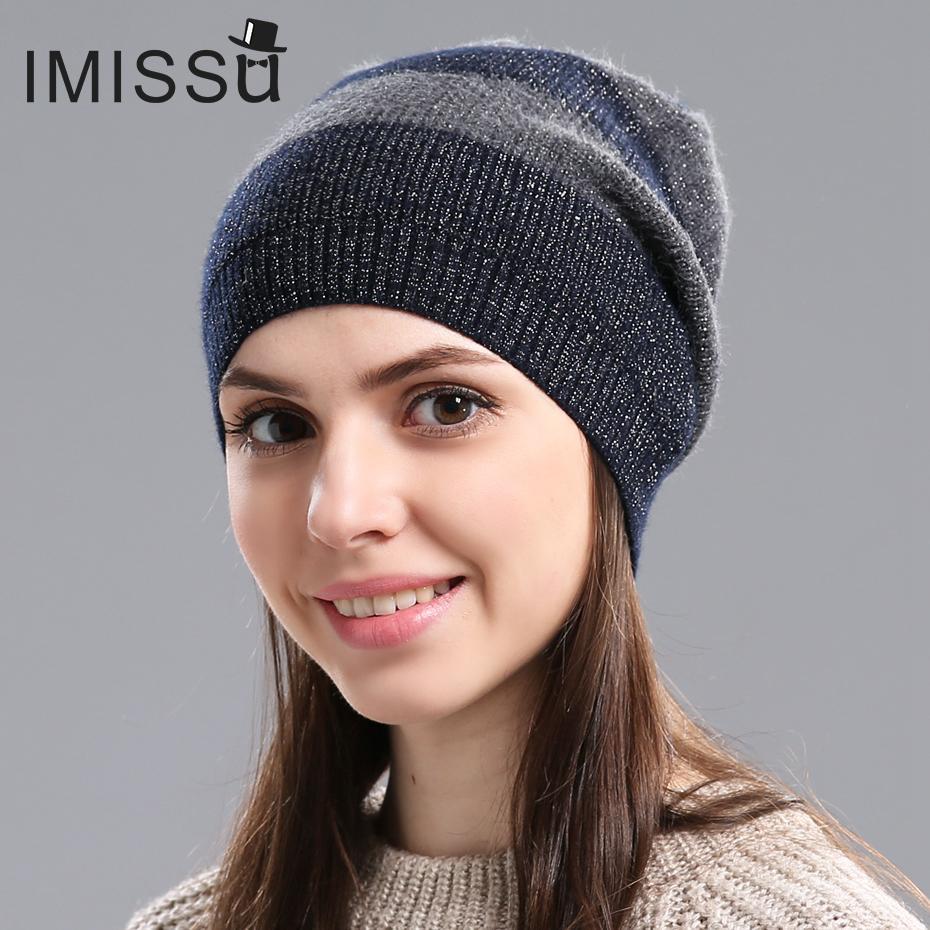 IMISSU AutumnWinter Frauen Hüte Strickecht Wolle Skullies Entwurfs-moderne beiläufige Kappe Gorros Casquette Hut für Mädchen C0926