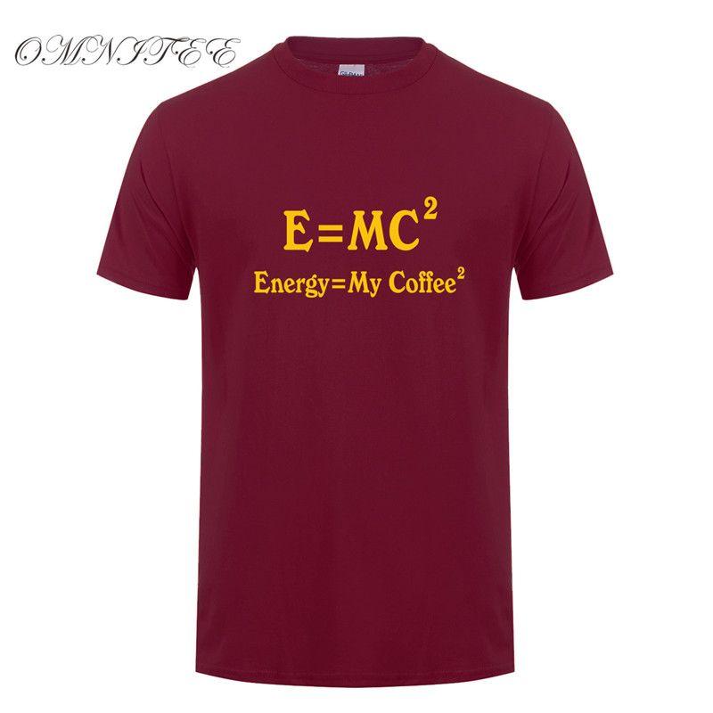 Verão Ciência Equações energia igual My Coffee Men Camiseta manga curta O Neck Cotton engraçado café camisetas homem camisetas