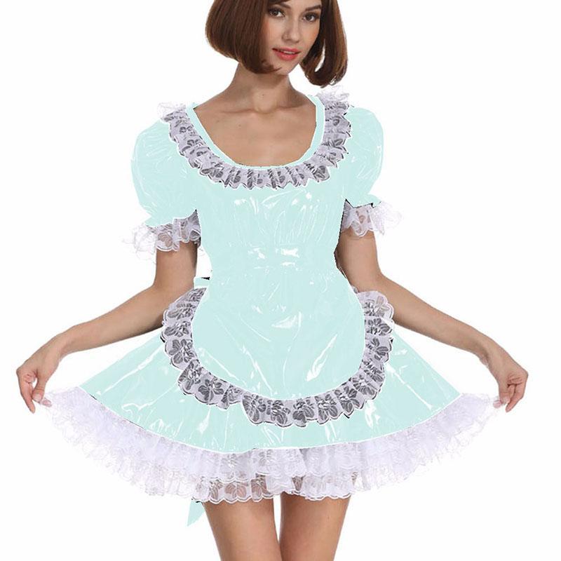10 couleurs PVC dentelle patchwork A-ligne Mini robe tablier femmes Domestique française cosplay costume à manches courtes Lolita Belle Déguisements