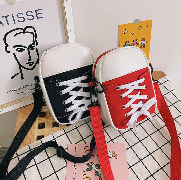 Öğrenci Tuval Omuz Çanta Shoelaces Bind Crossbody Nedensel Kız Yeni Stil Tuval Bag Soğuk