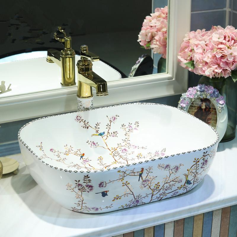 Jingdezhen ceramica dipinta sanitari arte lavabo contatore bacino lavabo Bathroom sink di lavaggio del bacino del dispersore dispersore mano