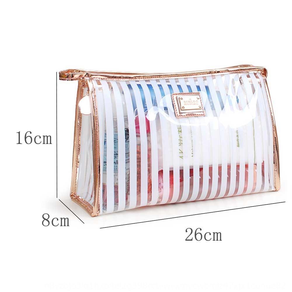 XIR8L Su geçirmez PVC kadınların şeffaf kozmetik yıkama kapasitesi yaratıcı çizgili büyük çanta kozmetik çantası sXMO9