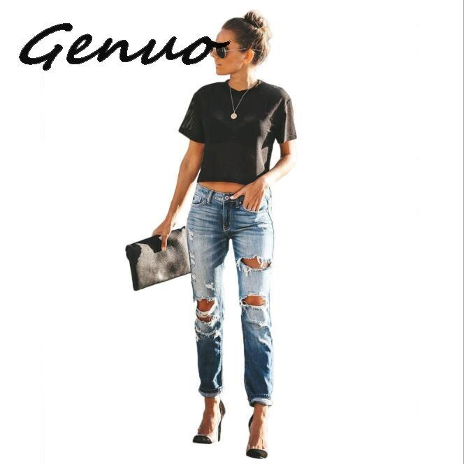 Été 2020 trous oblongs Jeans Denim Femmes Distressed Ripped Pantalons capris Jean Zipper poches stretch Casual Pantalons Jeans Femme