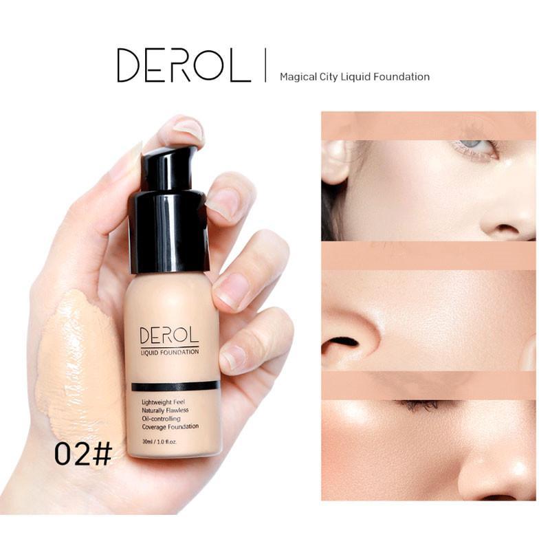 DEROL Face Жидкая основа крем 30 мл Полное покрытие маскирующее масло-контроль Легко носить мягкий макияж лица 3шт Foundation
