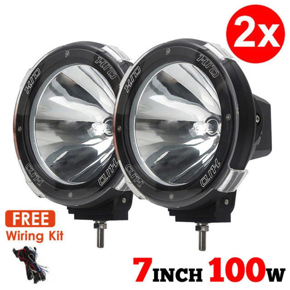 "1 Pair 7"" inch 12V 100W HID Driving Lights XENON Spotlights for Offroad Hunting Fishing Camping Work Spot"