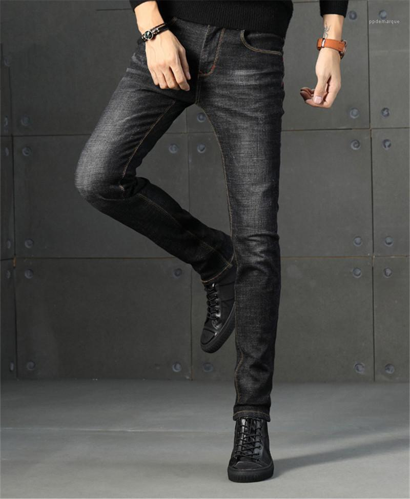 Hommes Jeans Zipper Fly stretch Pantalons Big Crayon Mode Vêtements pour hommes Printemps Automne Designer Ripped solide