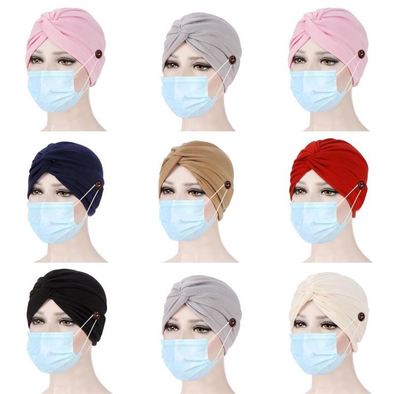 Durag Hat Relaxing Button Fitted Head Wrap Sun Turban Cap Beanie Fitted Ponytail Beach Bonnet Men Women Fashion 6 8er C2