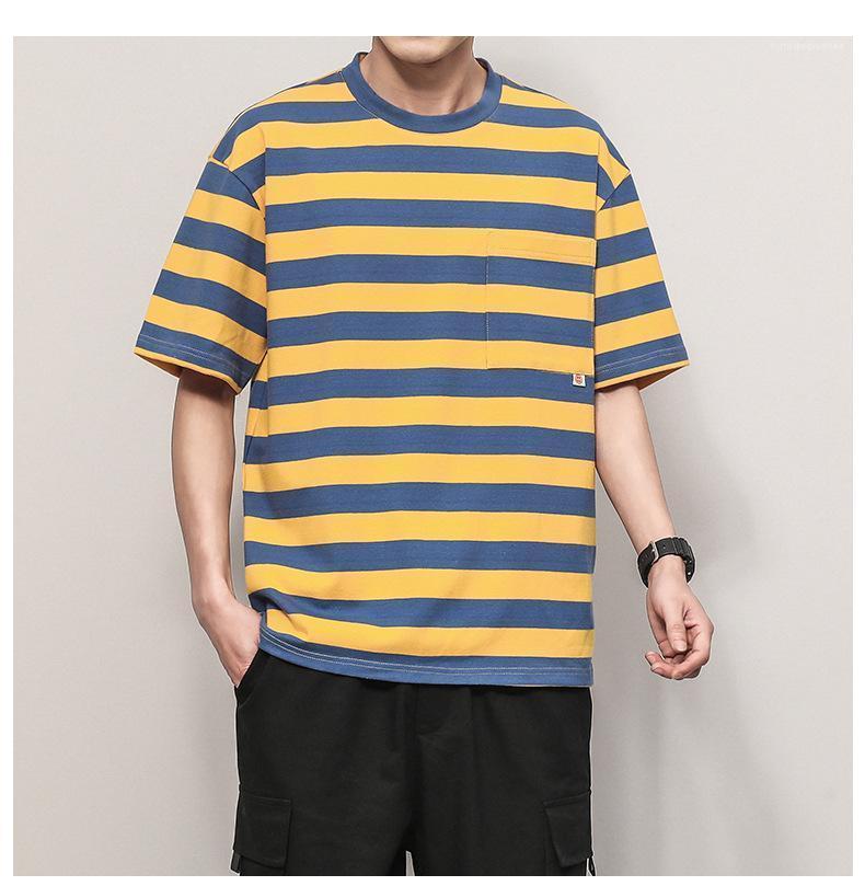 Çizgili Casual Tshirt Yaz Gevşek Kısa Kollu Yuvarlak Yaka hip hop tarzı Erkek Moda Tees Erkek Renkli