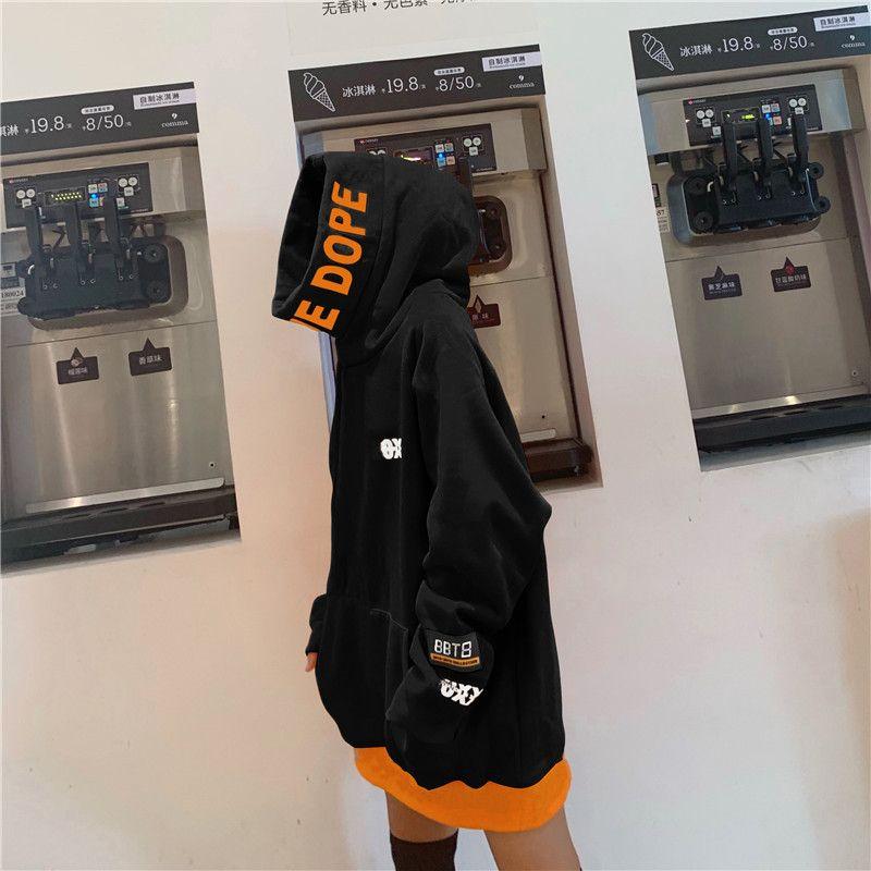 Harajuku Donne Felpe con cappuccio spessa più velluto Pullover Tasche manica lunga Donna Top Autunno Inverno Oversize Trendy Hoodie 200922