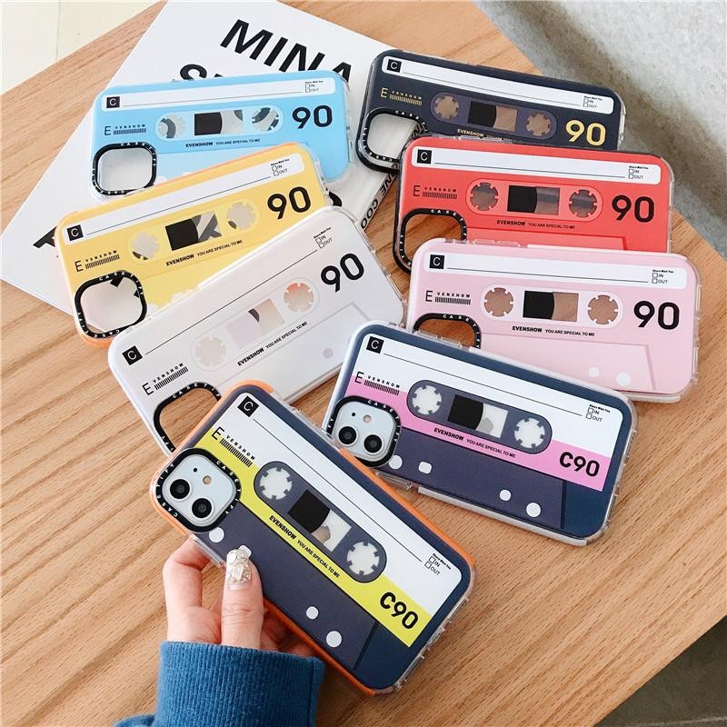 Moda Retro Tape Caso bonito colorido telefone para iPhone 11 Pro Caso Max XS para iPhone 7 8 Plus volta caso capa macia