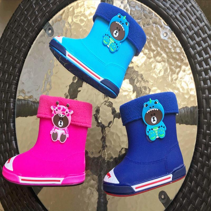Junge Mädchen Winter regen Mode Bär nette Kinder Wasserschuh Student Süßigkeit Stiefel SH19094