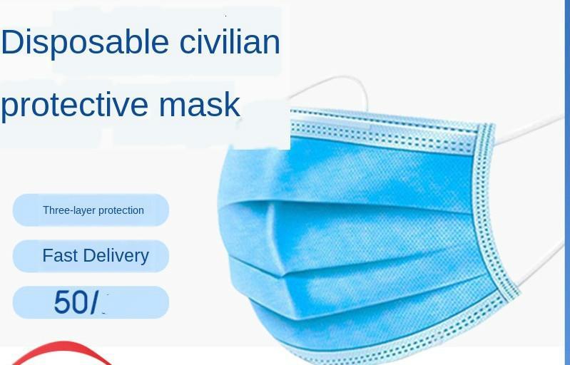 Envío libre de DHL recta 50-pack máscara desechable de 3 capas de protección ordinaria segura máscara y transpirable