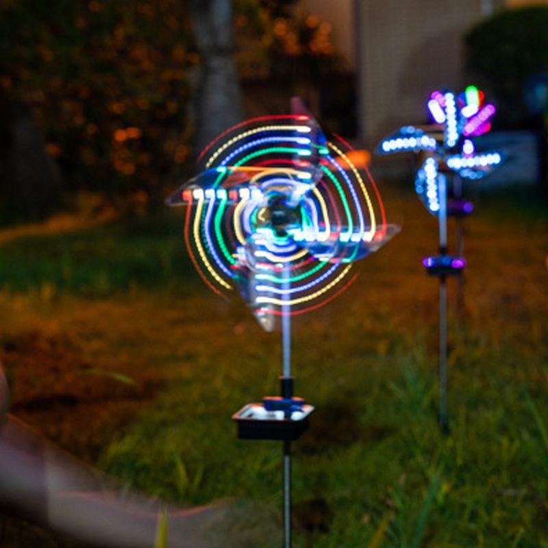 태양 정원 빛 LED 램프 안뜰 풍경 야외 장식 야외 방수 태양 풍차 램프 크레 트넥