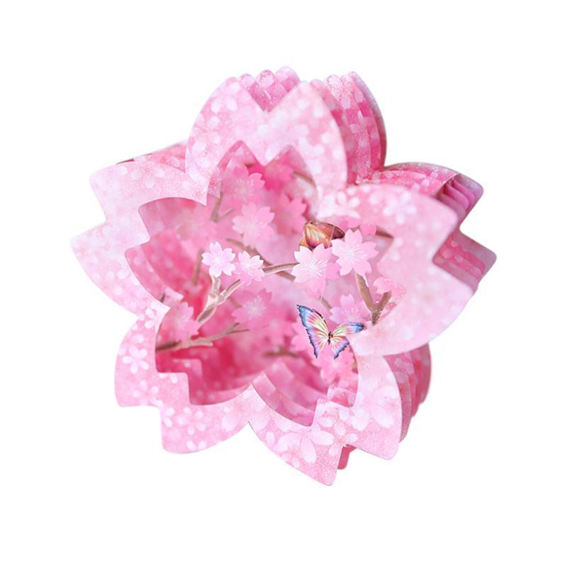1pc Greeting Card Paper 3D Congratulazioni intagliate Cartolina di auguri romantico ciliegio farfalla Benedizione Valentines Day Card