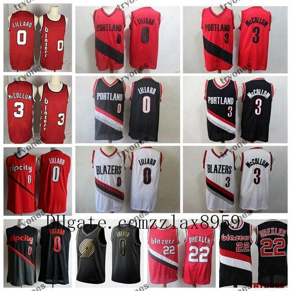 2019 Portland Trail BlazersCJ McCollum 0 Cidade Ganhou Basketball Jerseys Vintage Clyde Drexlernba 22 Preto Vermelho costurado Shirts