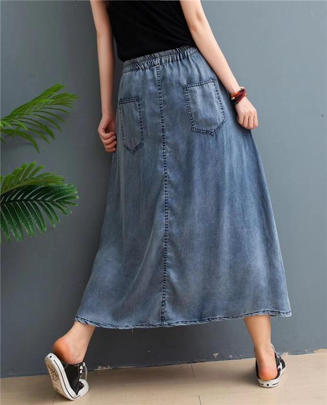 mu71R Sommer Alterung Linie lose Denim Frauen hohe Taille über die A Alterungs Knie- Neues Kleid abnehmen Kleid Fishtail Rock fishtail Rock All-matc