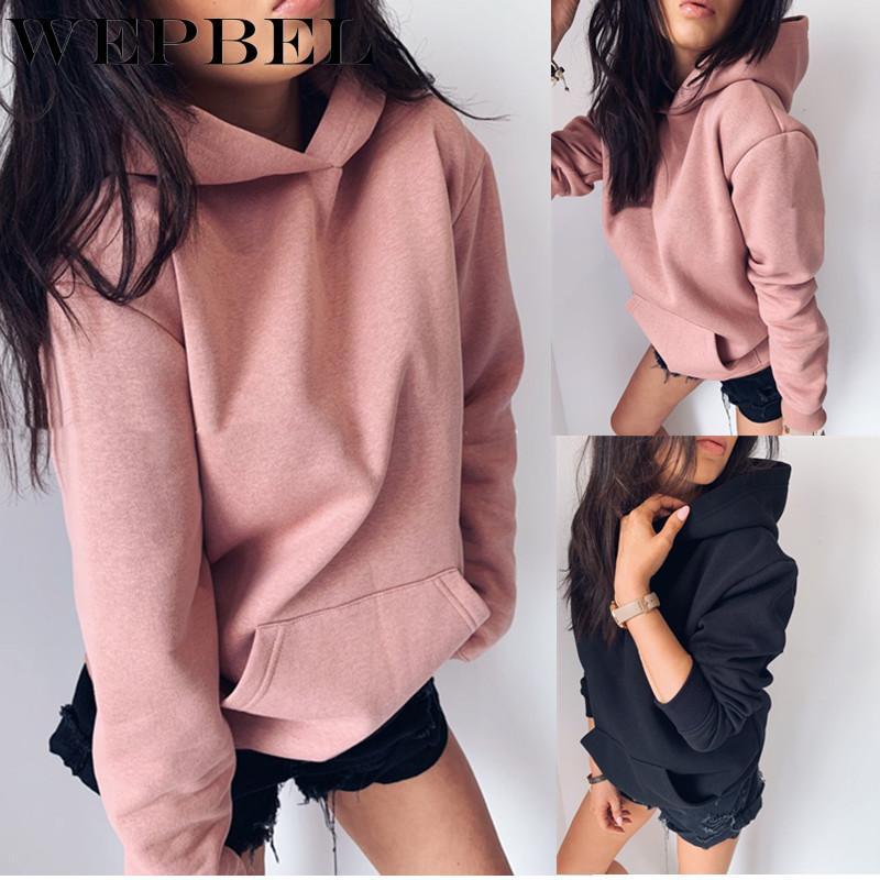 Mode WEPBEL Femmes Automne Hiver Sweats à capuche couleur unie capuche Casual manches longues Sweat-shirts Pull en vrac avec poche