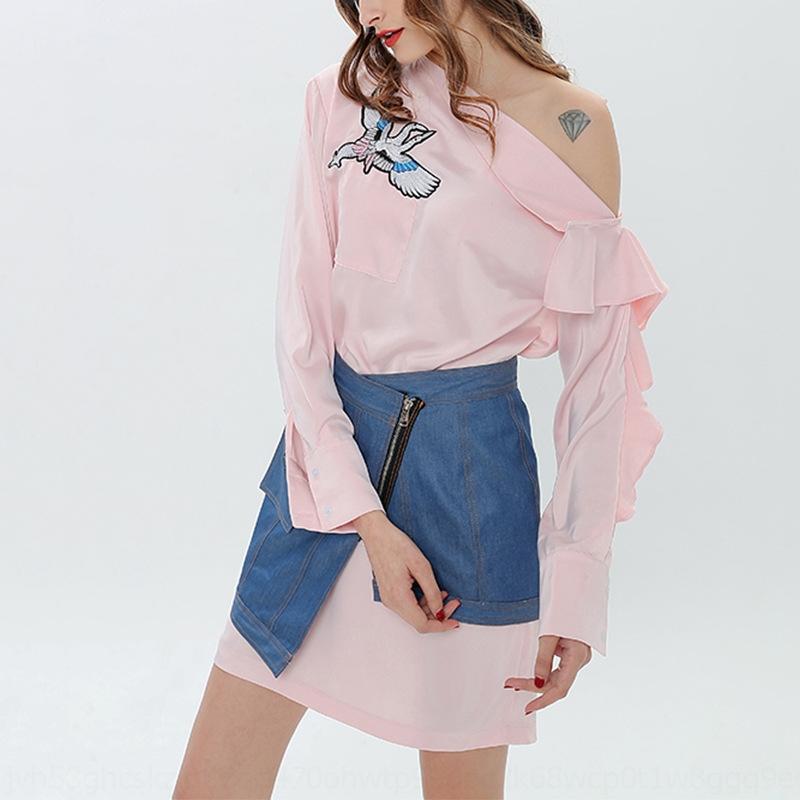 5q1EO 3HzhL 2020 Primavera sólida colorshoulder camisa bordada + mujeres camisa de vestir de vestir de sellado irregulares para la cintura traje
