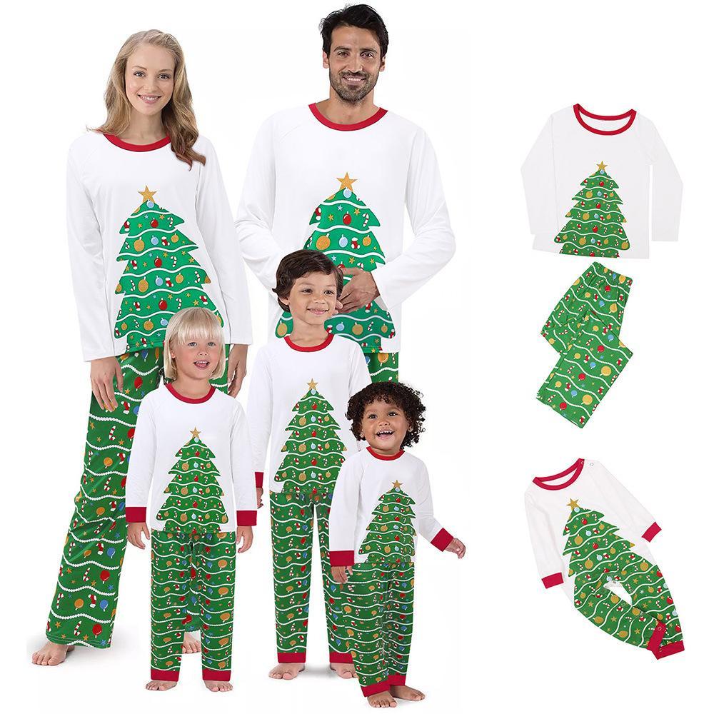 2020 Matching семьи Рождество Пижама наборы отдыха PJ с Chrsitmas Дерево печати Loungewear Пижамы партии Colthing