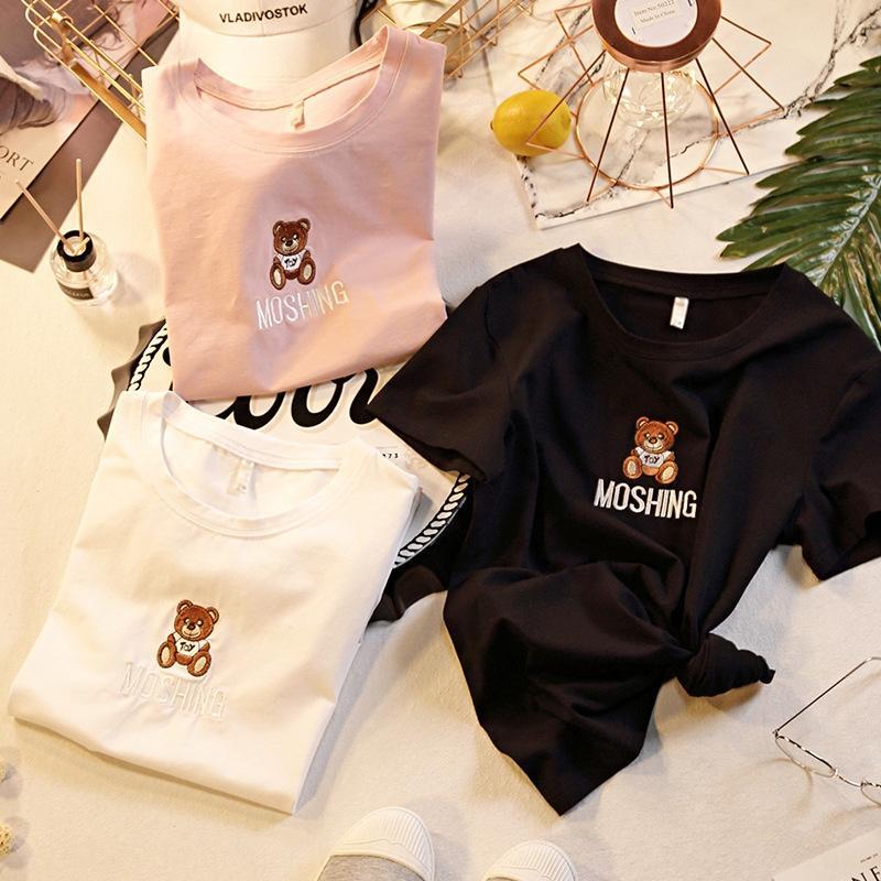V43te 2020 Yaz Kore tarzı yeni küçük moda batı tarzı zayıflama üst beyaz tişört gevşek kısa kollu tişört kadın i baskılı