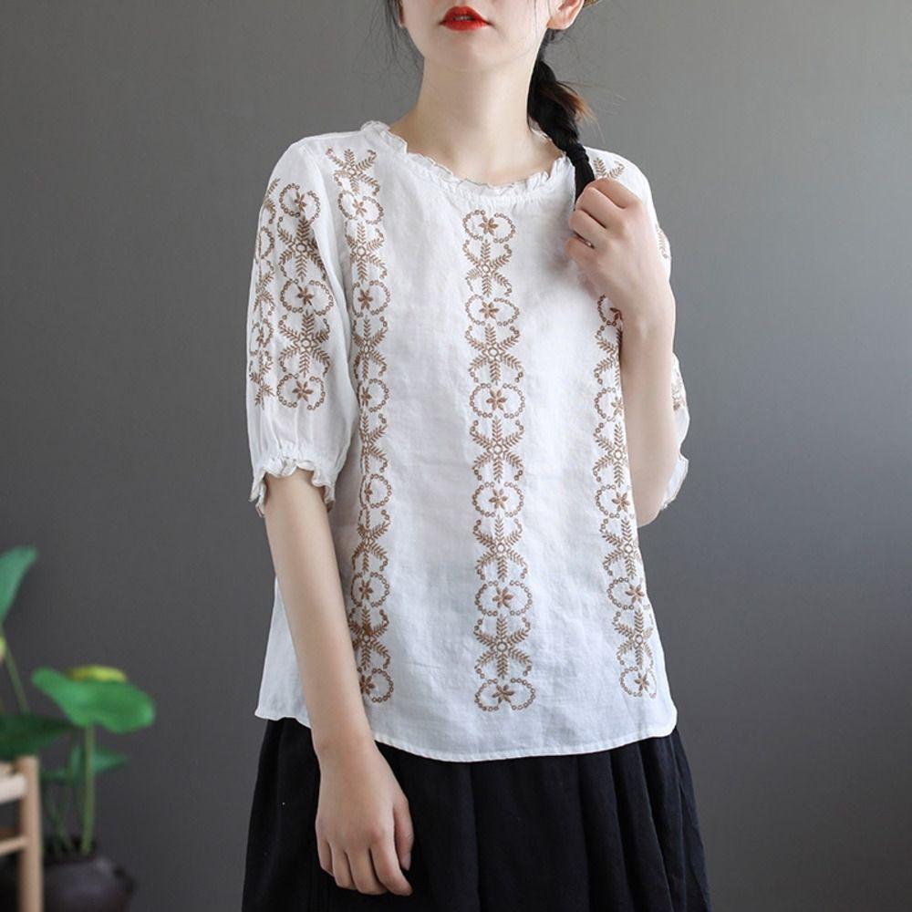 y6DUk BPvbt y ropa de café nacionalidad bordado de la tapa artística nacionalidad del café de algodón de manga mitad de cama antigua camiseta de las mujeres suelta