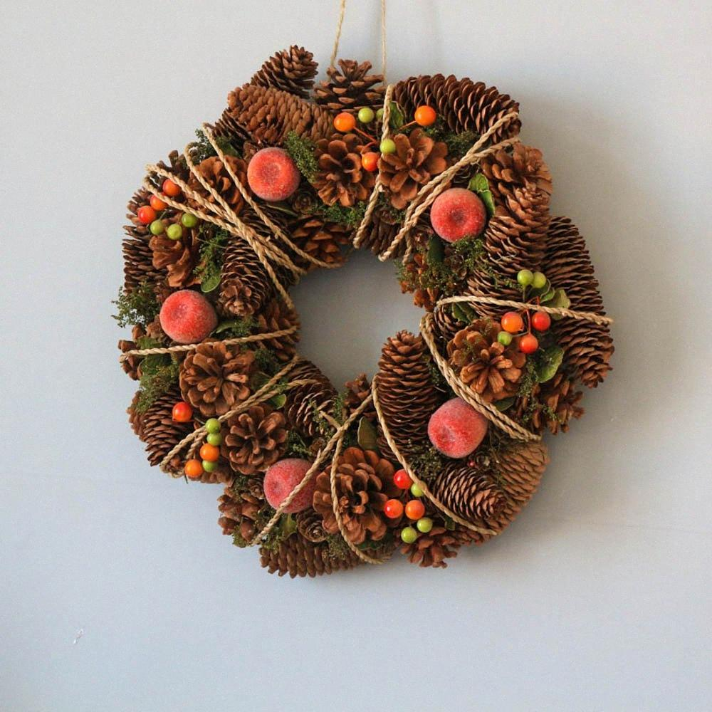Navidad Grarland la guirnalda de la decoración del hogar de la boda Decoración de la guirnalda País Otoño Invierno Año Nuevo Guirnalda Navidad GM3i #