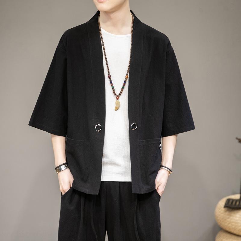 capa de la chaqueta de la chaqueta de protección solar Tang estilo de los hombres de traje ceHSb chino Tang traje capa chino del verano del tamaño medio de la manga el antiguo Gran ocasional floja ro
