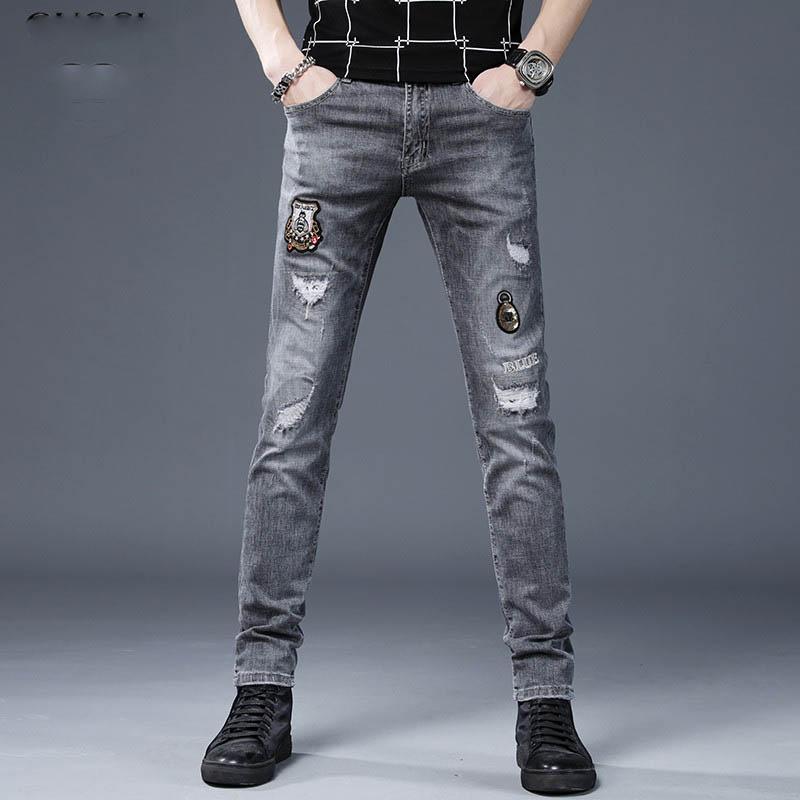 Distressed jeans déchirés hommes hip-hop jeans skinny raisons causales moto locomotive mince hommes de mode pantalon denim hommes