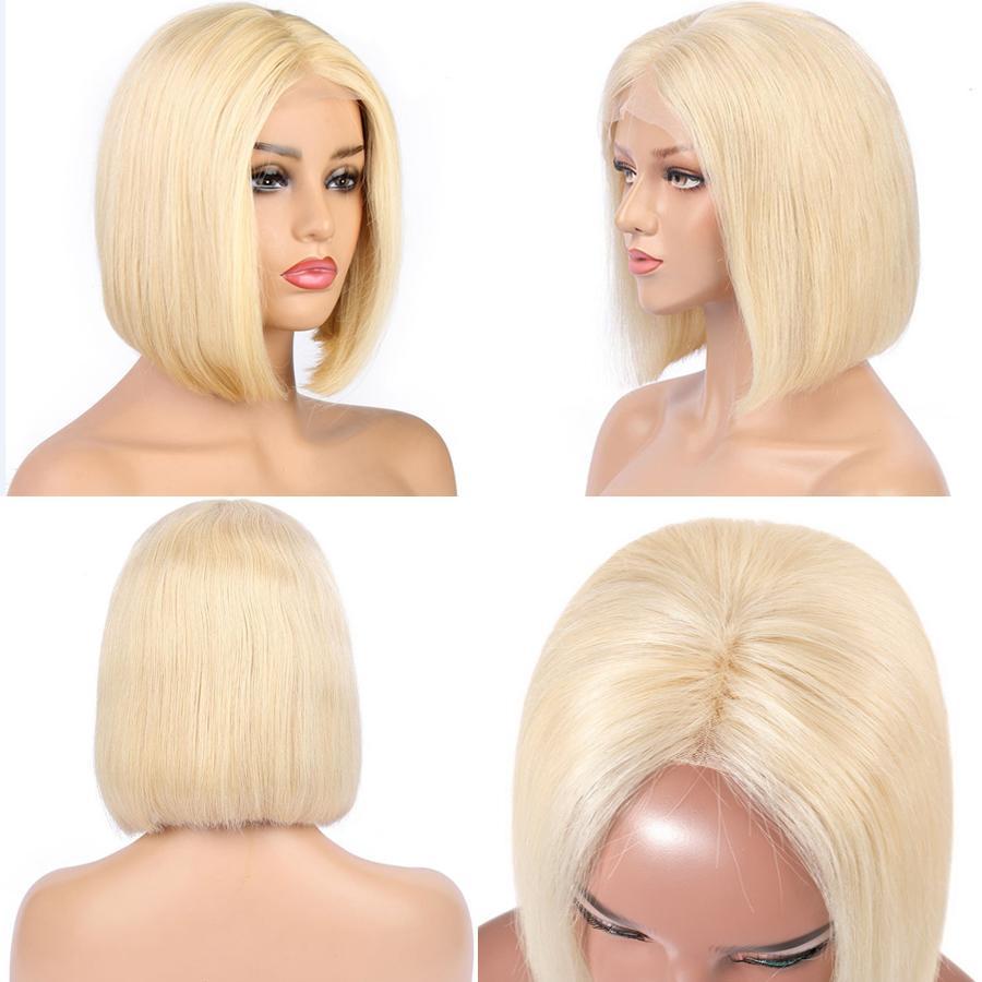 Новые 613 Blonde 13x4 HD Transparent фронта шнурка человеческих волос Парик Pre щипковых Human короткие волосы Боб Кружева Фронтальная парик для черной женщины