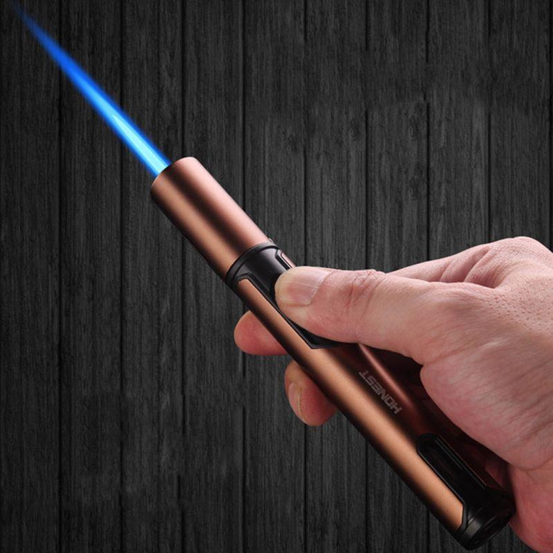 2020 nuova penna pistola a spruzzo del getto del butano del tubo più leggero di metallo Gas Cucina Cannello da saldatore Turbo antivento del sigaro della Gadget per gli uomini NO GAS