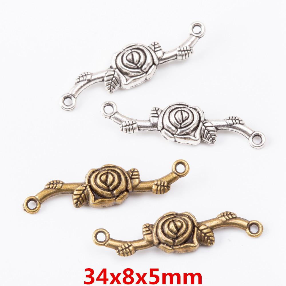 50pcs 34*8MM Silver color rose flower connector charms vintage bronze pendant for bracelet earring necklace diy jewelry making