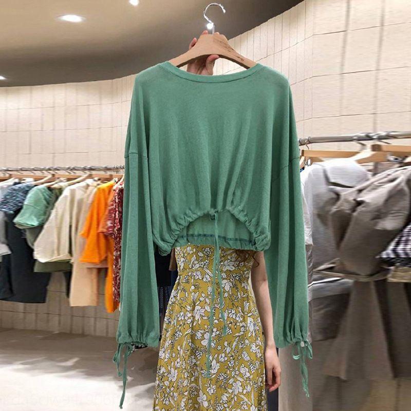 y2Jnx hW6z2 koreanischer Saum kurz Langarm-T-Shirt der Frauen 2020 Herbst New Dongdaemun Mantel T-Shirt Spitze Allgleiches Taille oben loser Kordelzug