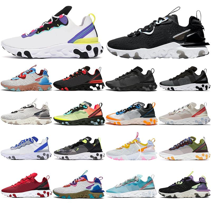 Nike React Element 87 55 2020 87 55 elementos reaccionan zapatillas de deporte para hombres mujeres antracita Luz Bone Desert Oasis gravedad púrpura mens entrenadores deportivos