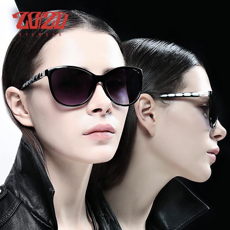 20/20 Brand Design Frauen Katzenaugen-Sonnenbrille weiblich Retro Style Polarisations-Brille Schatten UV400 Oculos de sol Feminino LJ200827