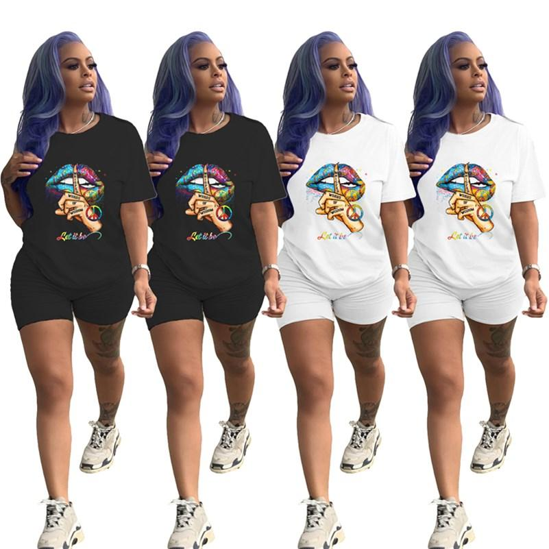 Women 2 piece set summer clothes print letter tracksuit running t-shirt shorts sportswear pullover leggings outfits tee top bodysuits 0299