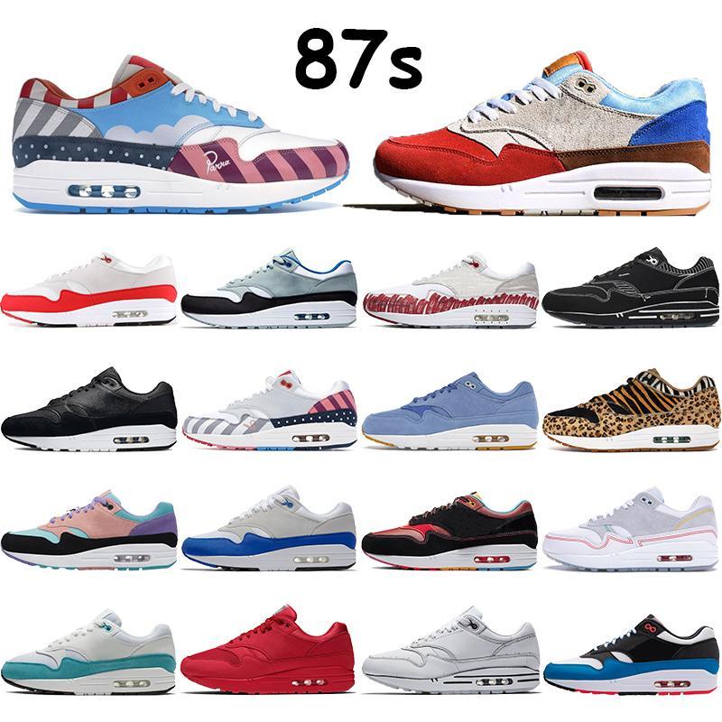 Novas 87s mens tênis aniversário parra aquático real multi cor branca centro preto dia melancia Tinker homens esporte vermelhas as sapatilhas das mulheres