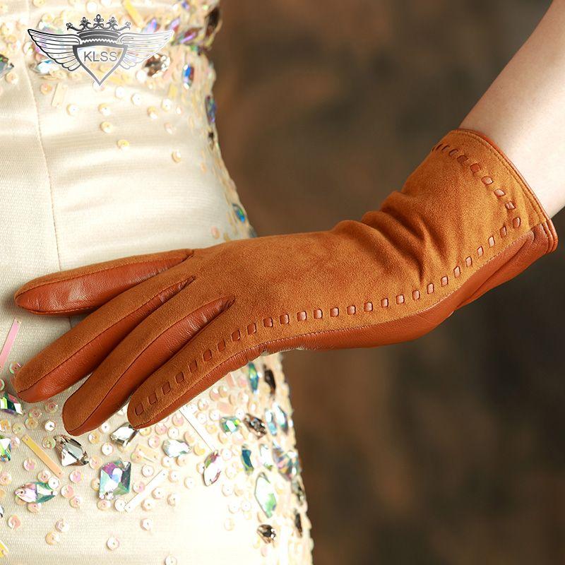 KLSS 2020 Marken-echtes Leder-Frauen-Handschuhe Qualitäts Goatskin Wildlederhandschuhe Winter Fashion Trend Lady Lammfell-Handschuh 2329