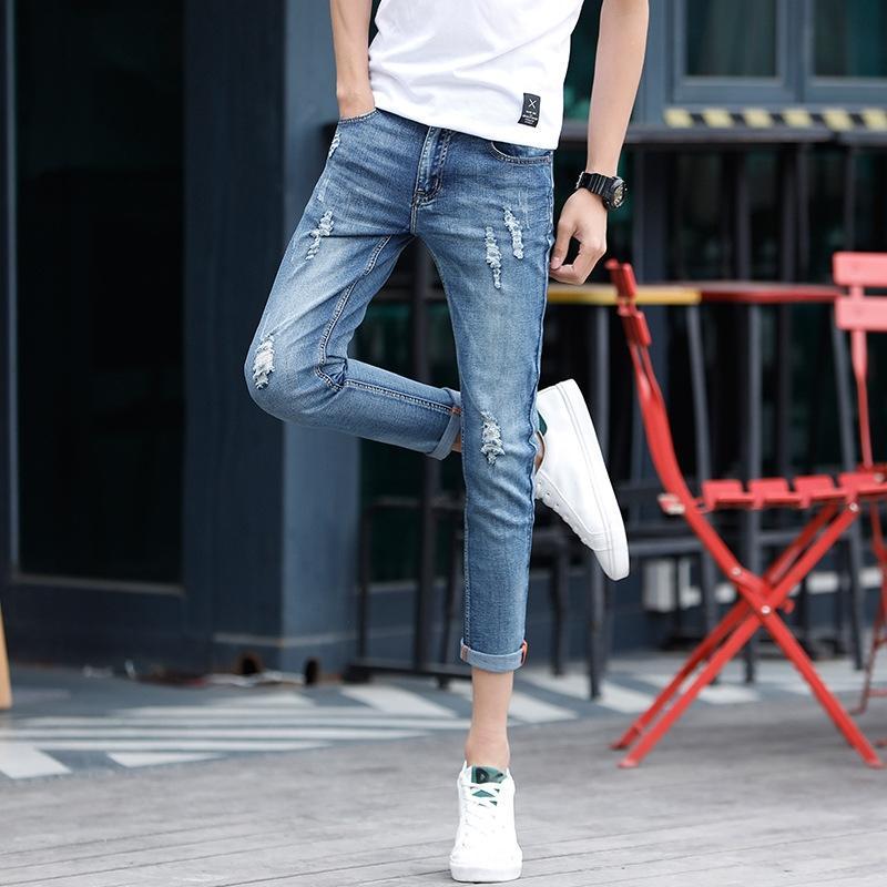 n8FJV Outono calças jeans e calças e estilo do inverno jeans rasgados moda calças até os tornozelos dos homens ajuste reto magro pequenos pés de comprimento pan