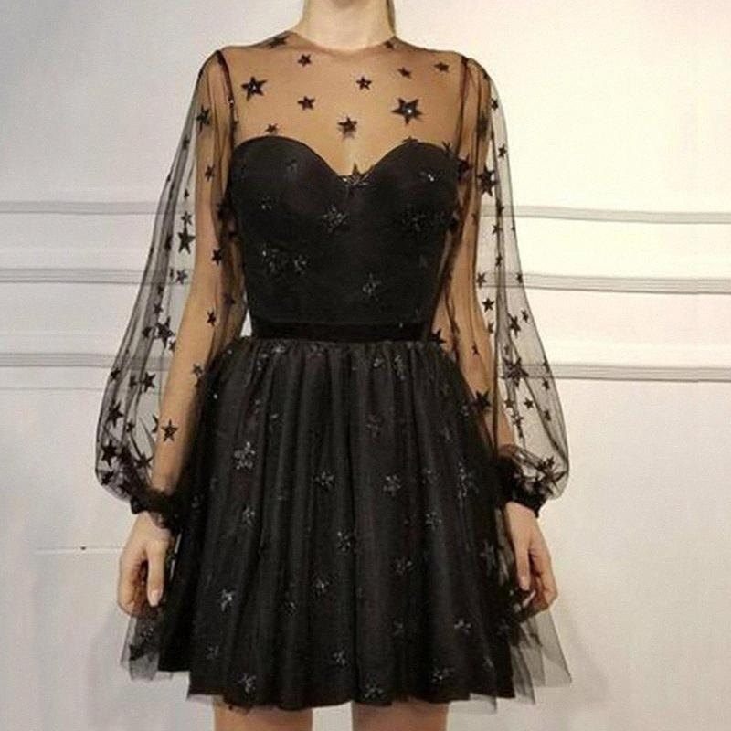 Mulheres Sequin Estrela Imprimir Tulle Vestido Ladies malha See-Through Cocktail Party Dress Y200103 Uu57 #