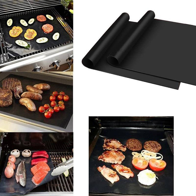 Wiederverwendbare Antihaft-BBQ-Grillmatte 33 * 40 cm-Pad Backblech Tragbare Outdoor-Picknick-Grillofen-Tool BBQ-Zubehör GRI-MAT-OOA8388