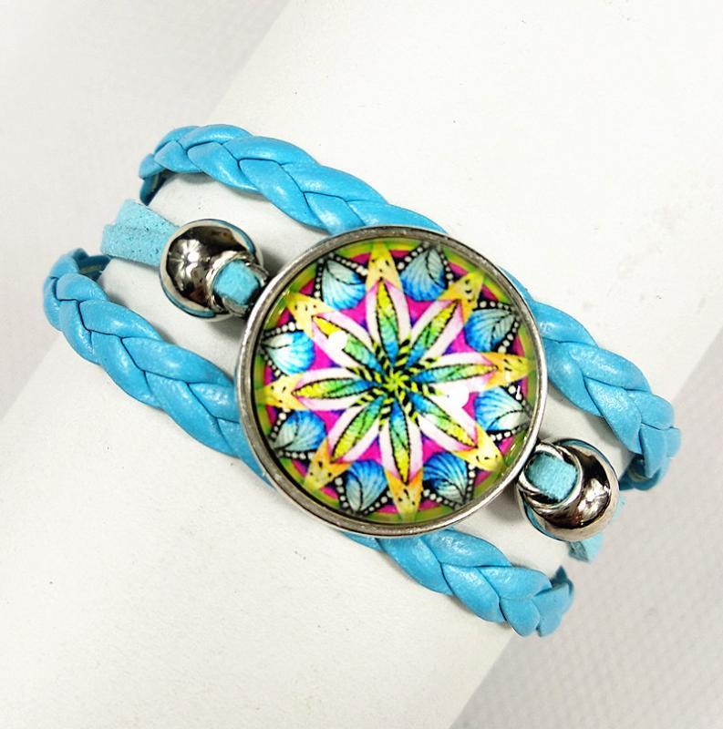 1pc cadena Mandala de la flor pulsera de cristal Budismo Zen cabujón brazalete de la mano 2020 encanto de Nueva estilo del pañuelo