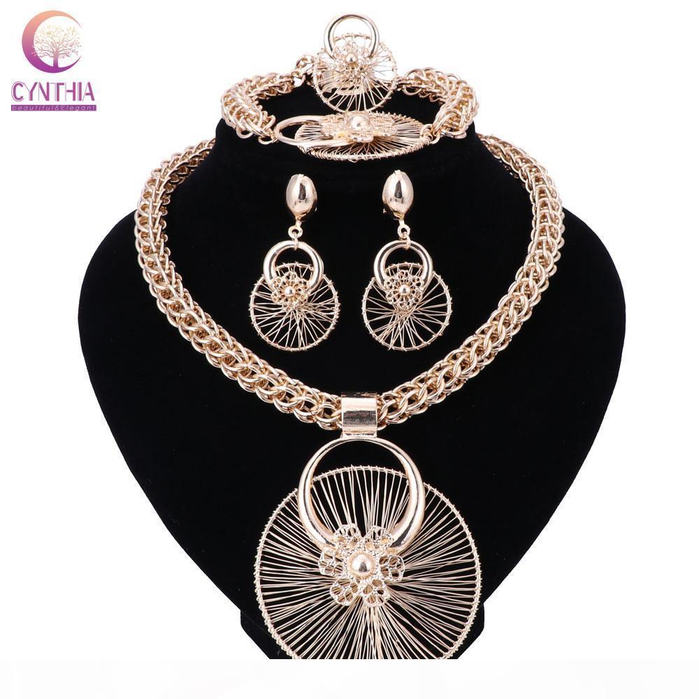 Mode Perles nigérianes Bijoux de mariage Ensemble de couleur d'or nuptiale Dubaï collier en cristal boucle d'oreille Ensembles Ensemble de bijoux perles africaines