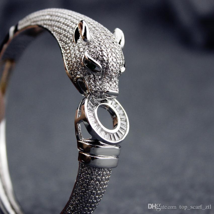 tête de léopard design Bangle luxe femmes 925 bracelets d'argent pour femmes Vintage Fine Jewelry